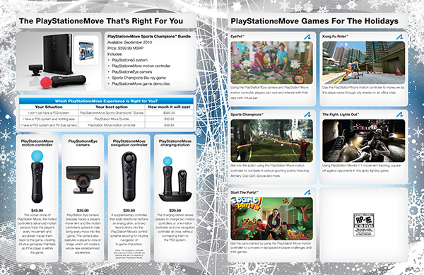 Interior pages of Sony PlayStation holiday booklet